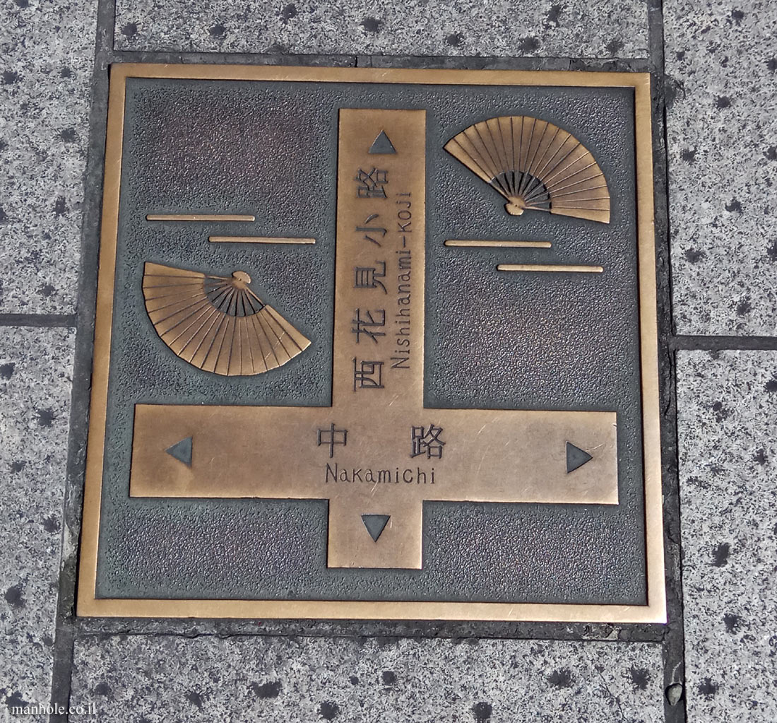 Kyoto - boards indicating directions to central sites in the city