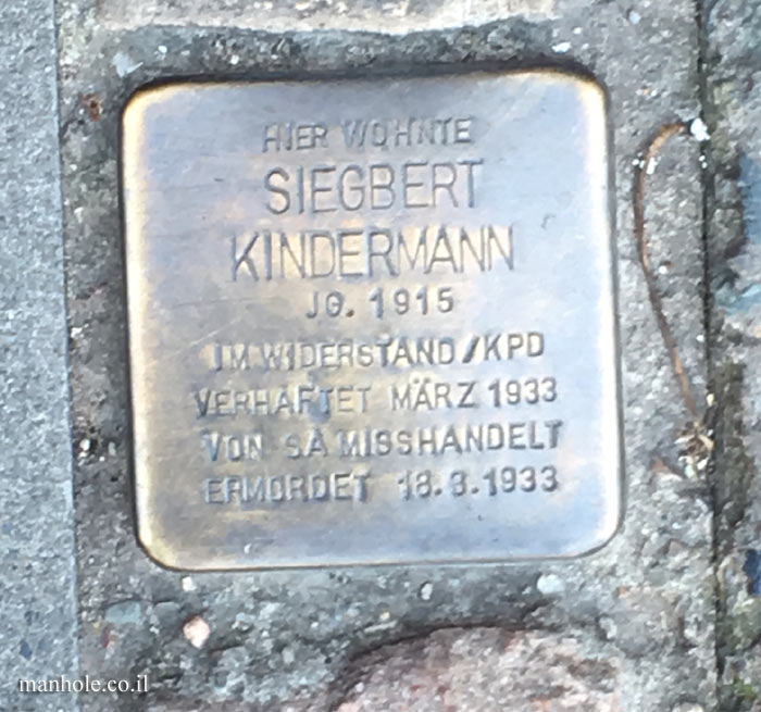 "Berlin - ""Stumbling stone"" - a memorial plaque in the Siegbert Kindermann house"