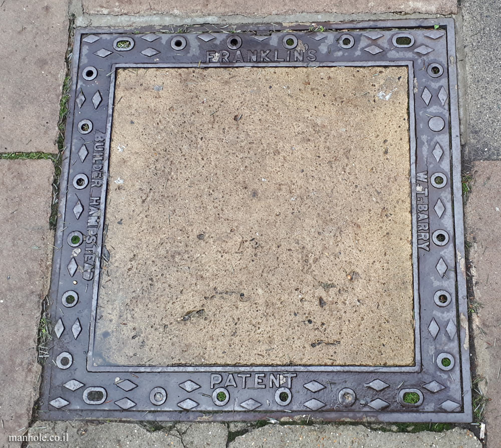 London - Hampstead - Large concrete cover with ornate frame