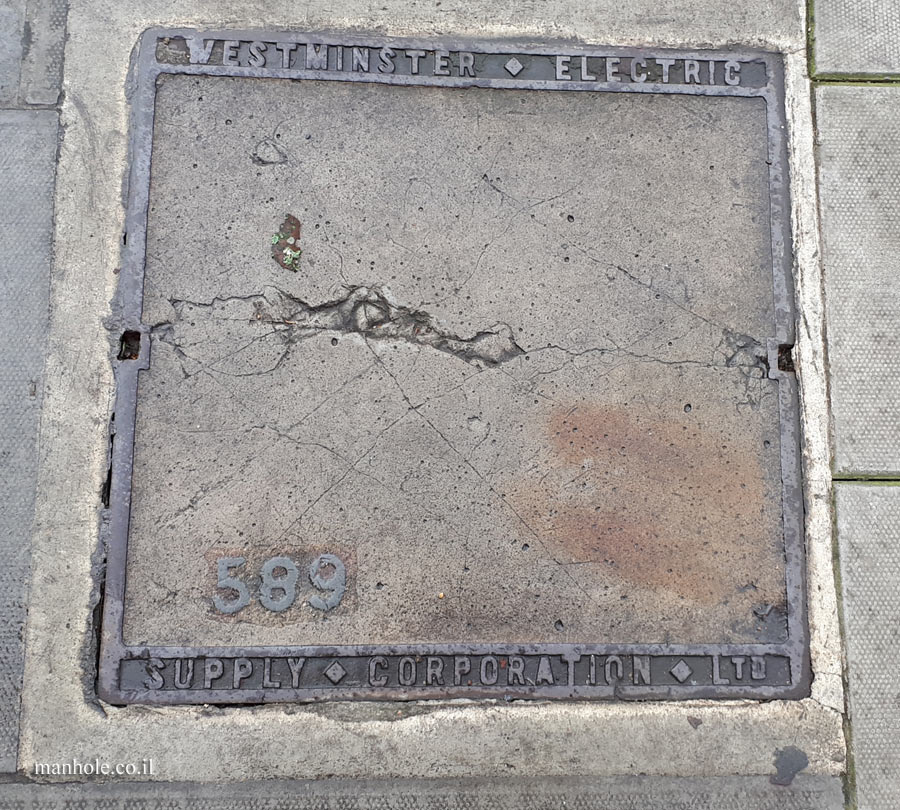 London - electricity - concrete cover with thin frame